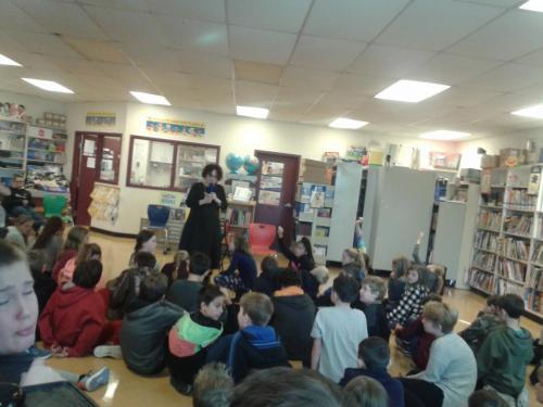 Elinor Benjamin delights the kids at Beachy Cove Elementary, 2016