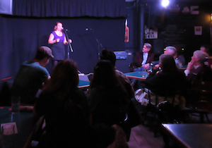 Sharon King-Campbell with a Jack tale at The Ship Pub, 2016