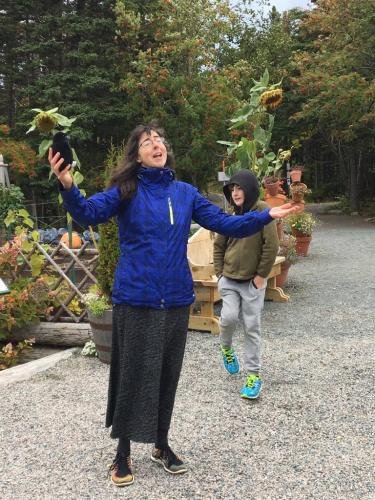 Catherine Wright mid-tale at the Story Walk, MUN Botanical Gardens, 2017