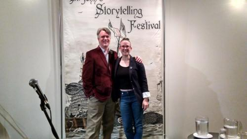Storytelling Dale Jarvis and festival manager Kailey Bryan, 2017
